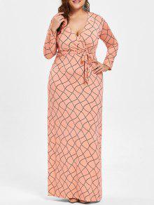فستان ماكسي الحجم الكبير كهنوتي هندسي - البطيخ الأصفر 4xl