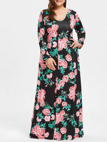 زائد حجم الخامس الرقبة زهرة طباعة فستان ماكسي - أسود 5xl