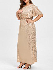 برونزية بالاضافة الى حجم فستان طويل رفرفة كم - ذهبي 4xl