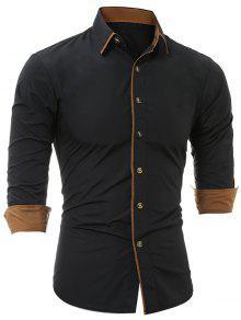 قميص هبوط لون بلوك - أسود L