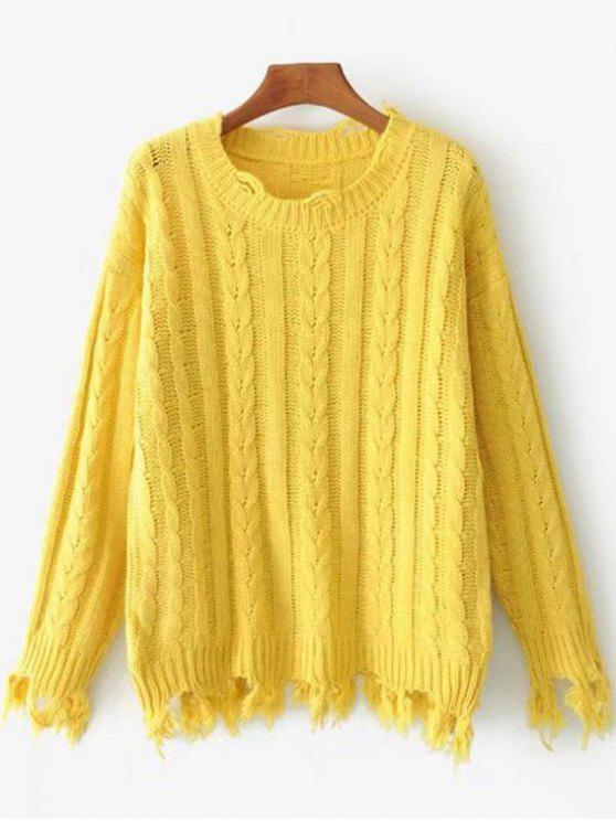 Frayed Hem Plain Cable Knit Sweater YELLOW: Sweaters ONE SIZE | ZAFUL