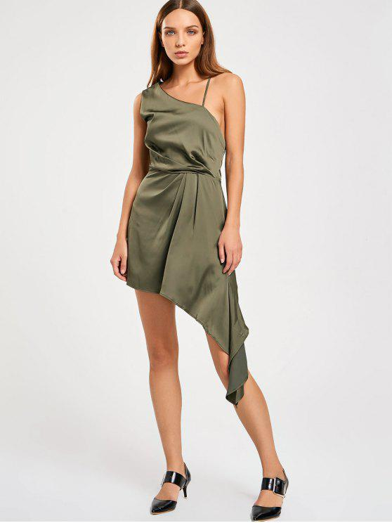 shops Backless One Shoulder Asymmetric Prom Dress - ARMY GREEN XL