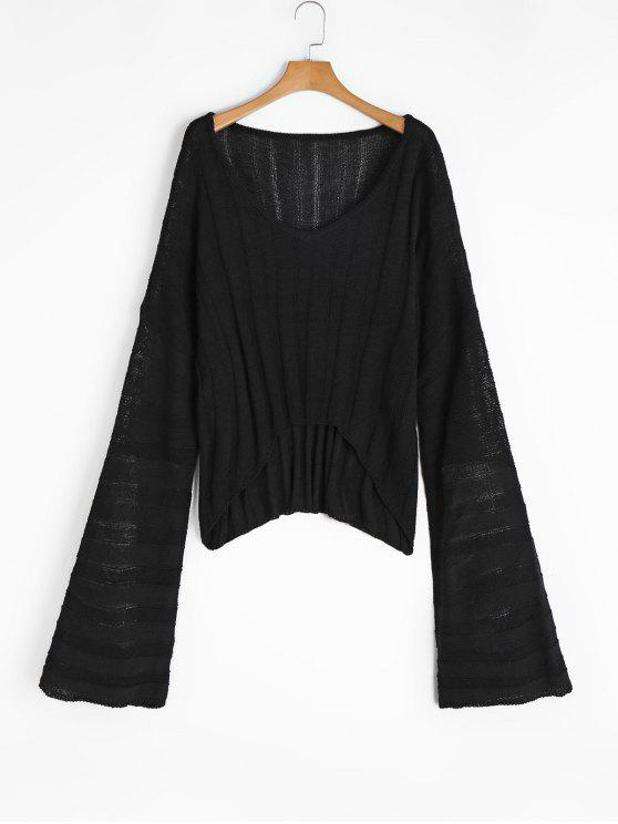 Oversized V Neck High Low Sweater BLACK: Sweaters ONE SIZE | ZAFUL