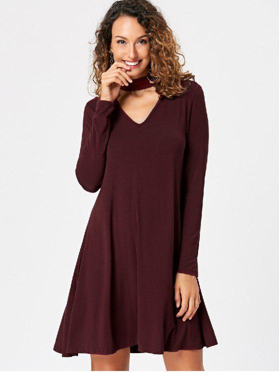 shop Long Sleeve Flare Choker Dress - RED XL