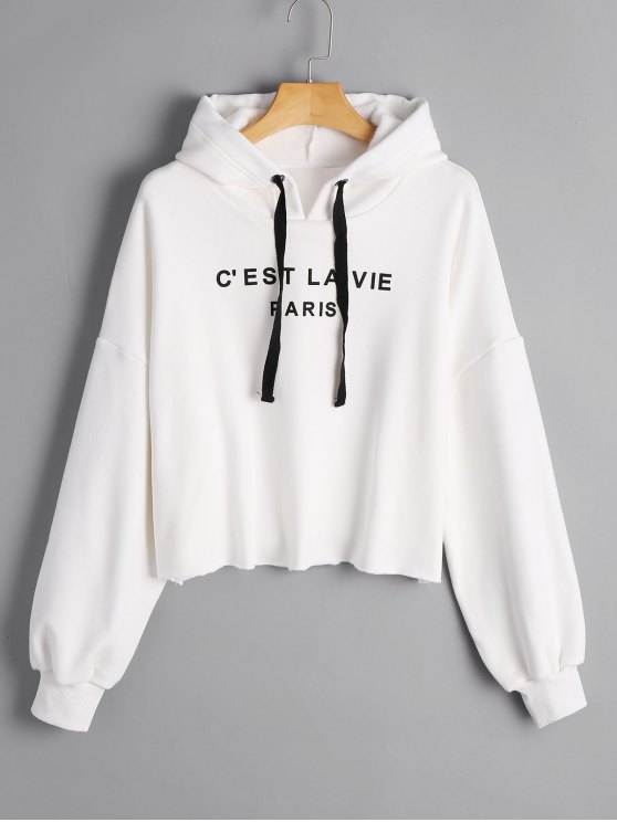 chic Cropped French Paris Print Hoodie - WHITE S