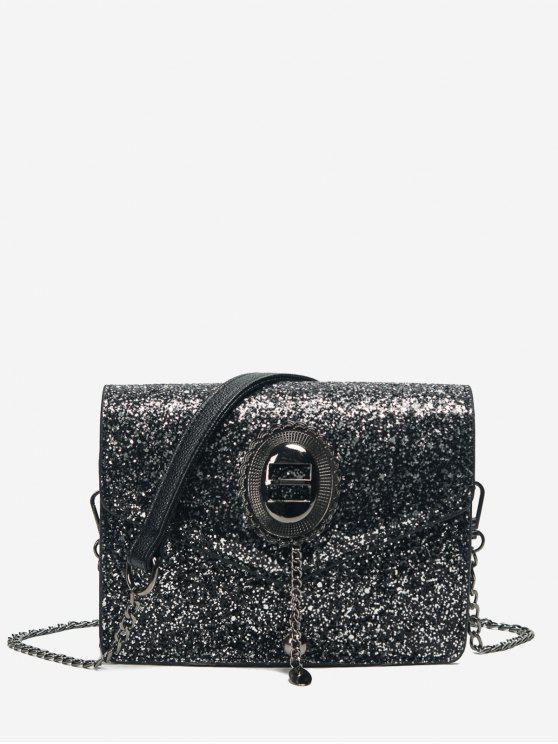 shop Chain Sequin Crossbody Bag - BLACK