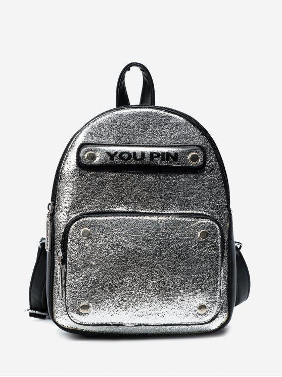 trendy Letter Glitter Backpack - SILVER