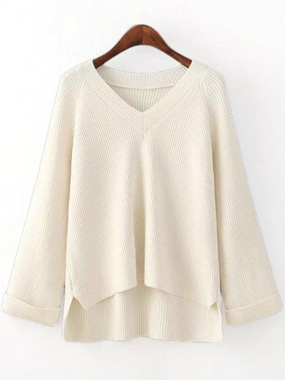 womens V Neck Side Slit High Low Sweater - OFF-WHITE ONE SIZE