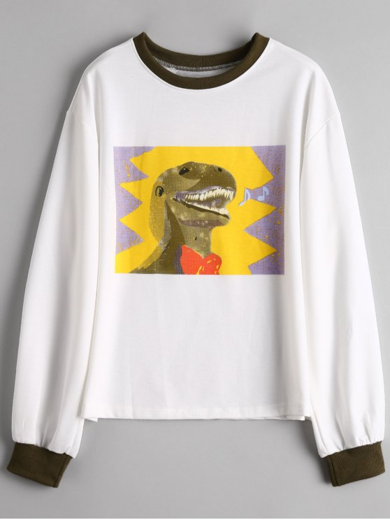 buy Graphic Preppy Sweatshirt - WHITE ONE SIZE