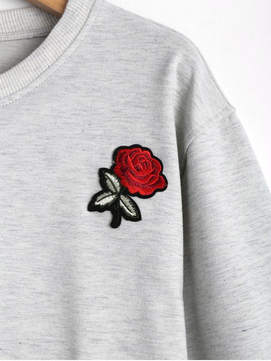 Xl Rose PatchéeGris shirt Court À Sweat osQtCxBhdr