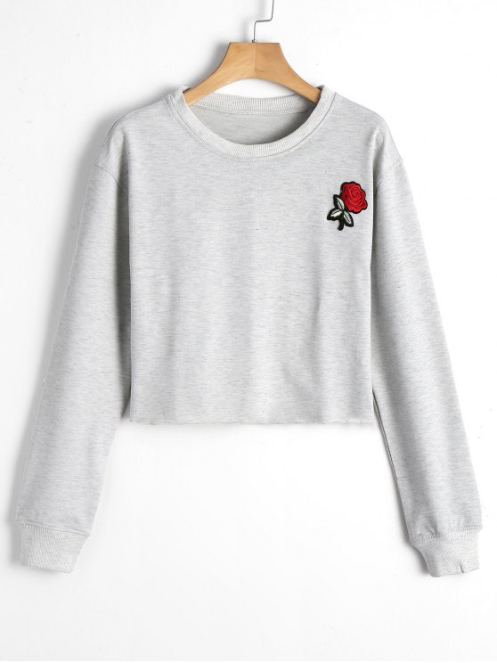 latest Cropped Rose Patches Sweatshirt - GRAY S