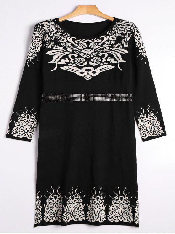 Rhinestoned suéter Jacquard vestido de Midi - Negro Talla única
