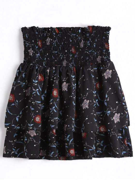 Smocked Floral Tiered High Waisted Skirt BLACK: Skirts M | ZAFUL