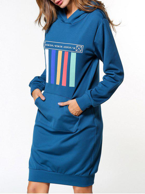 Langarm hoodie kleid blau langarm kleider m zaful for Sweatshirt kleid lang