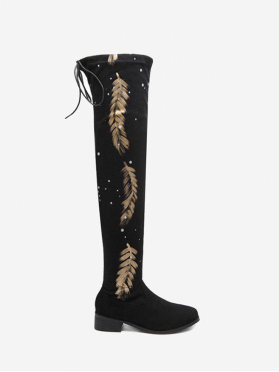 best Round Toe Print Chunky Heel Thigh High Boots - BLACK 39