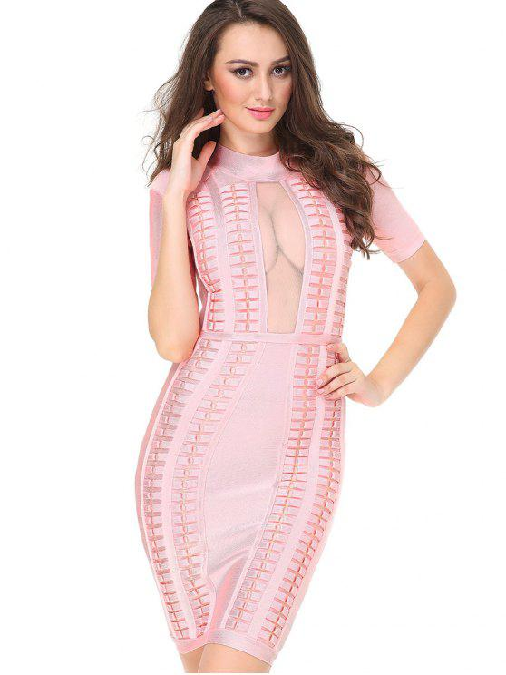 womens High Neck Mesh Panel Bandage Dress - PINK L