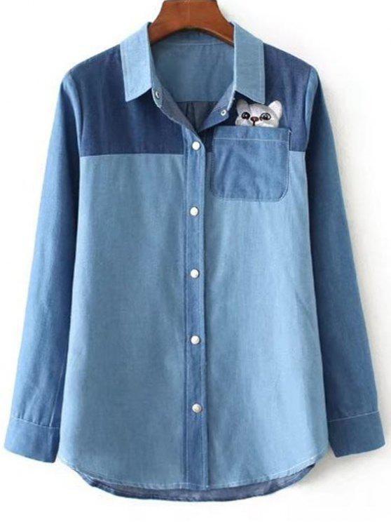 Camicia tascabile a contrasto con ricamo gatto - Blu Chiaro M
