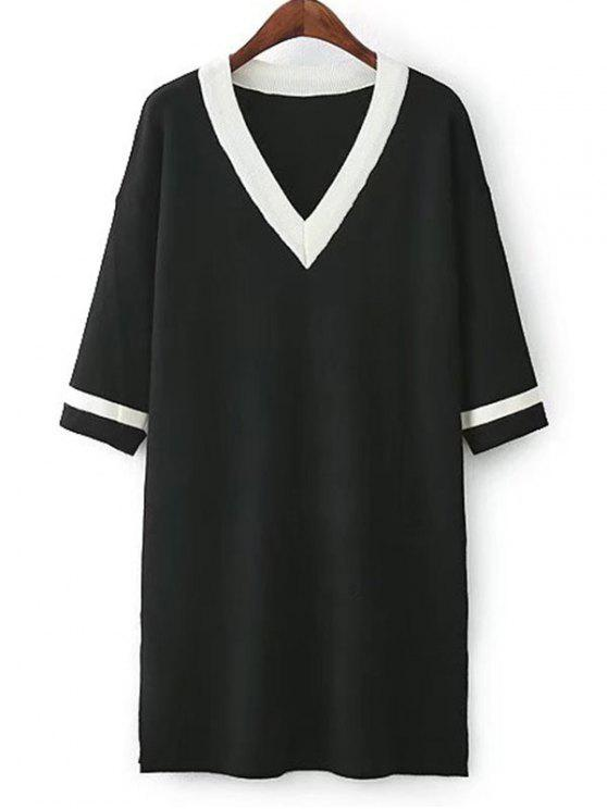 Robe tricotée à rayures latérales - Noir TAILLE MOYENNE