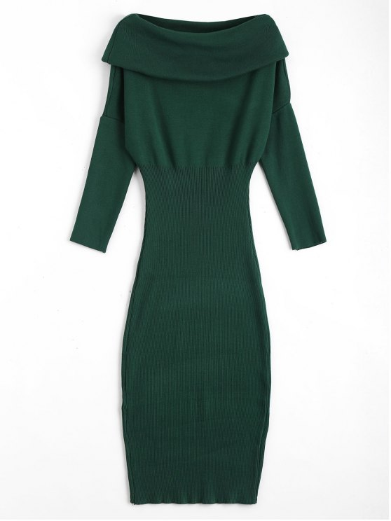 Overlap Off Schulter Pullover Bodycon Kleid - Grün Eine Größe