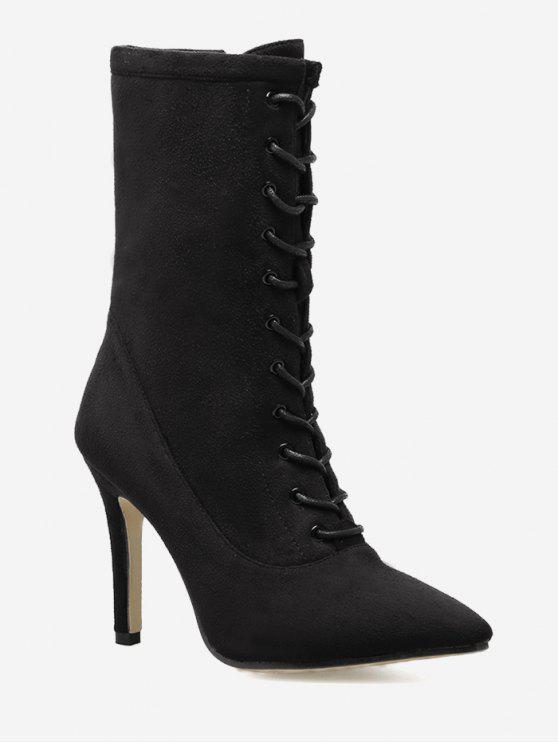 Stiletto Pointed Toe Lace Up Boots - Preto 38