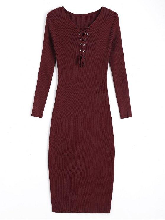 Lange Ärmel schnüren sich Pullover Bodycon Kleid - Weinrot Eine Größe