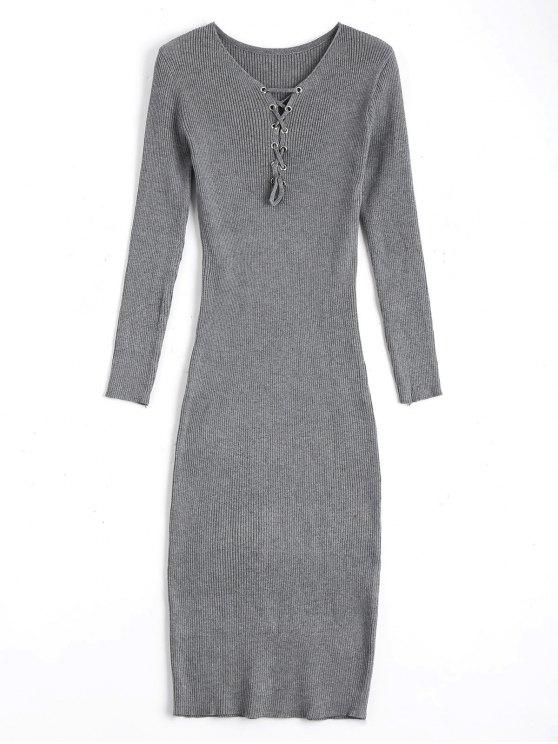 Lange Ärmel schnüren sich Pullover Bodycon Kleid - Grau Eine Größe