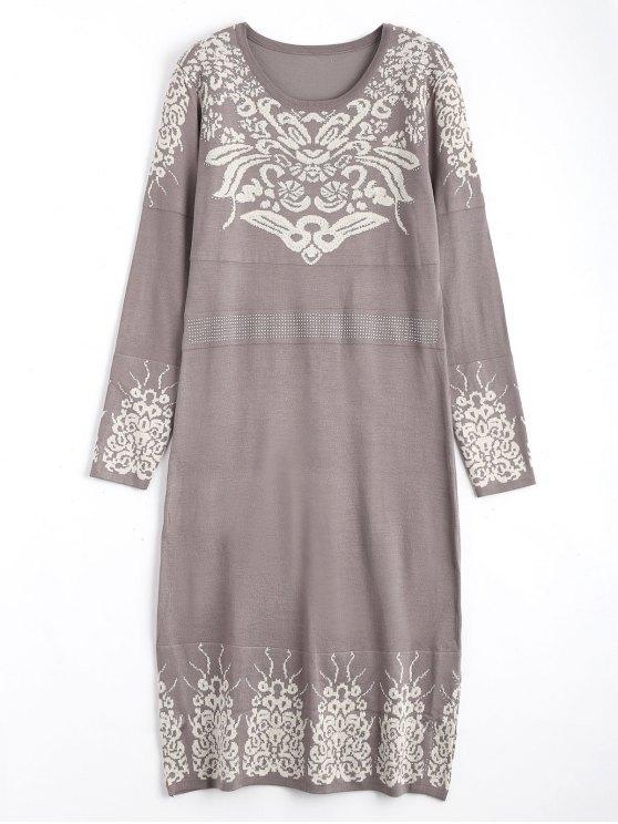 Rhinestoned Jacquard Pullover Midi Kleid - Zerschlagen Eine Größe