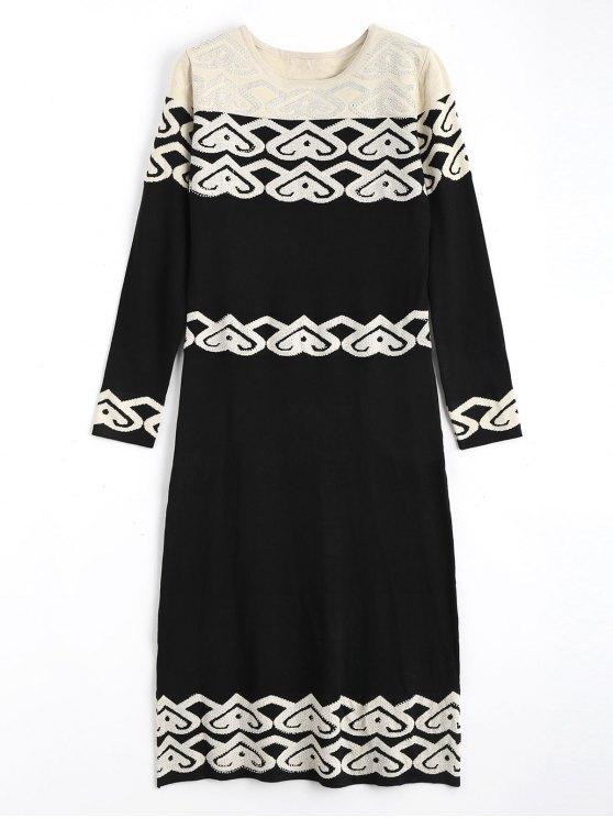 Jacquard manga larga Rhinestoneed suéter vestido - Negro Única Talla