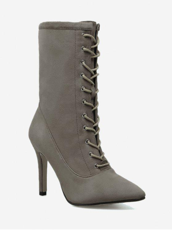 shops Stiletto Pointed Toe Lace Up Boots - KHAKI 36