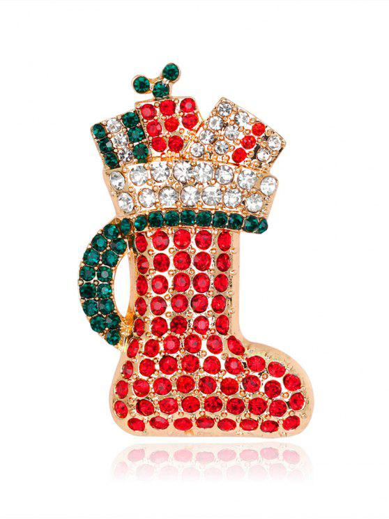 ladies Rhinestoned Christmas Shoe Tiny Brooch - RED