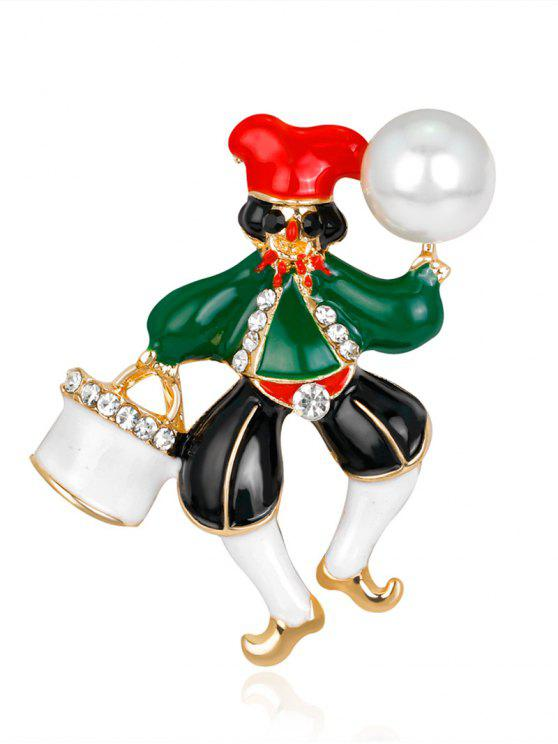 Faux Pearl Rhinestone Christmas Clown Brooch - Verde
