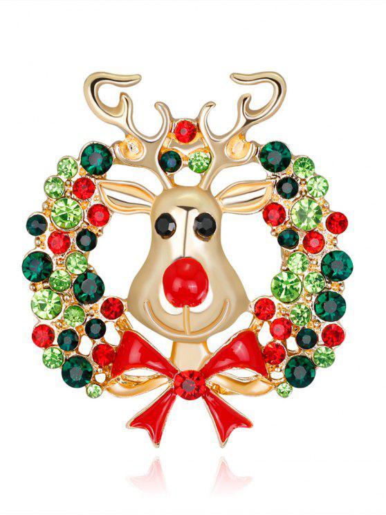 حجر الراين عيد الميلاد الغزلان اكليلا بروش - أخضر