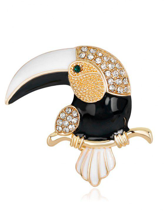 Rhinestone Two Tones Toucan Shape Brooch - Branco e Preto
