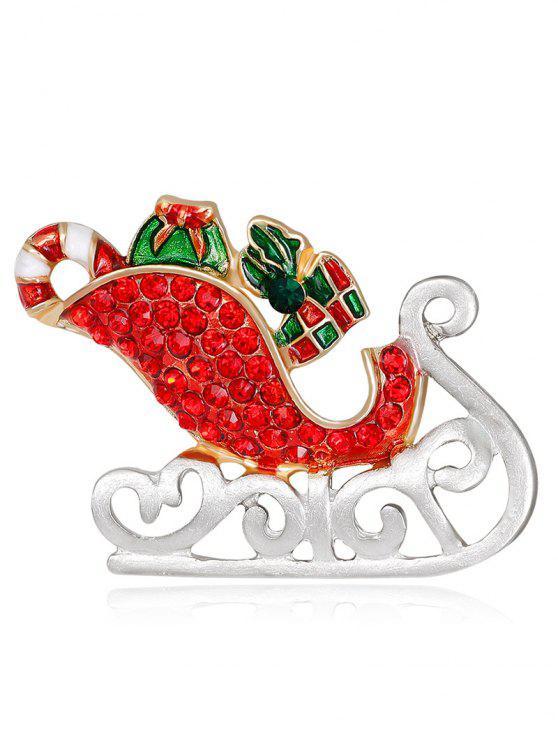 chic Acrylic Rhinestone Christmas Ice Skates Brooch - RED
