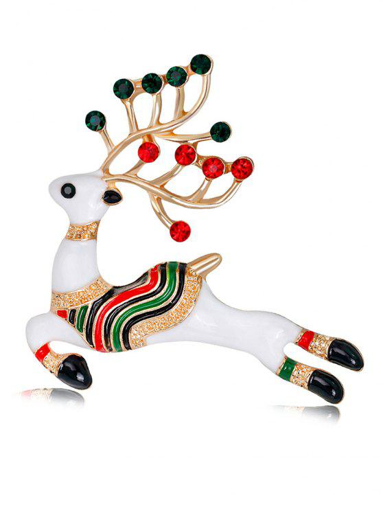 women Rhinestoned Christmas Elk Brooch - WHITE