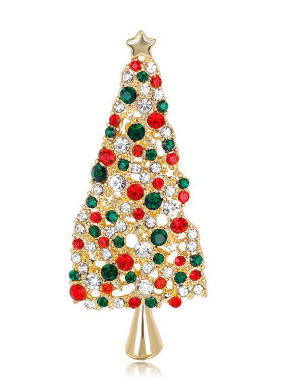 lady Sparkly Rhinestone Christmas Star Tree Brooch - COLORMIX