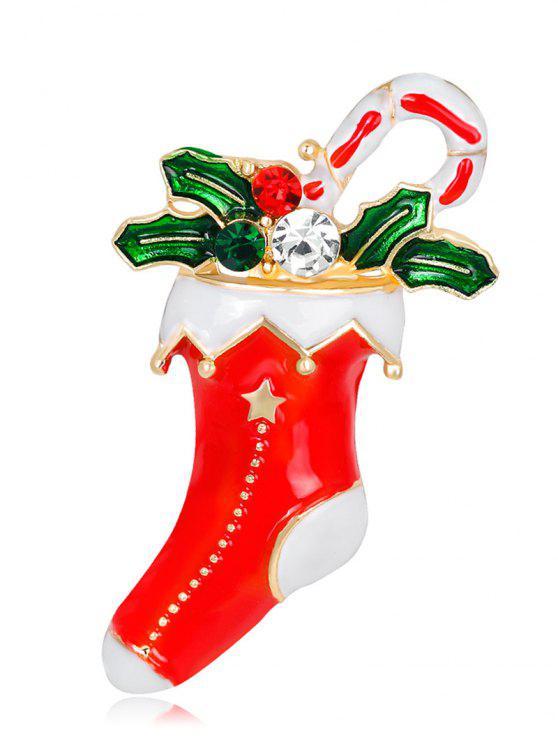حجر الراين عيد الميلاد الجورب ورقة هدية بروش - أحمر