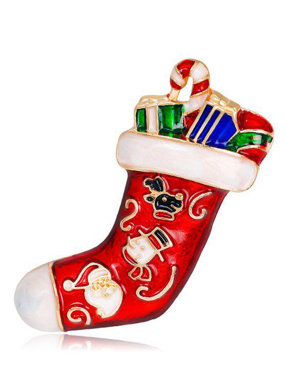 Voller Geschenk Weihnachtssocke Brosche - Rot
