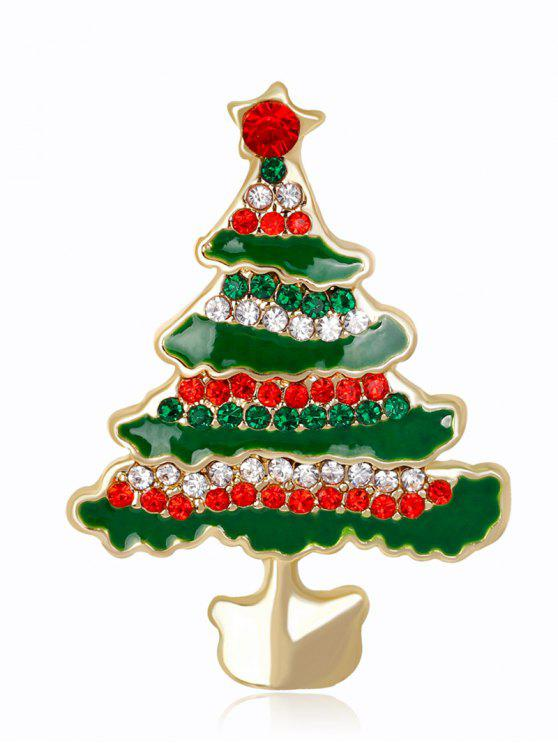 womens Rhinestone Christmas Tree Brooch - GREEN