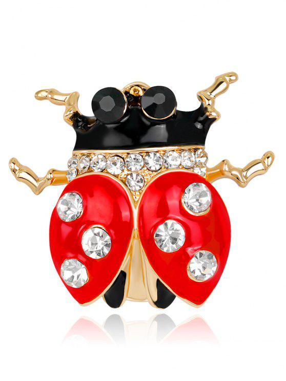 Broche de marbrure strass - Rouge