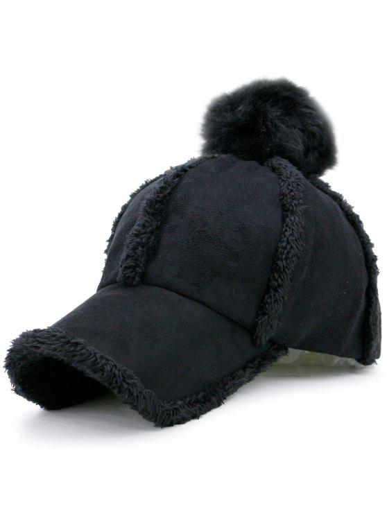 Faux Lambswool Panel Pom Baseball Hat - Noir