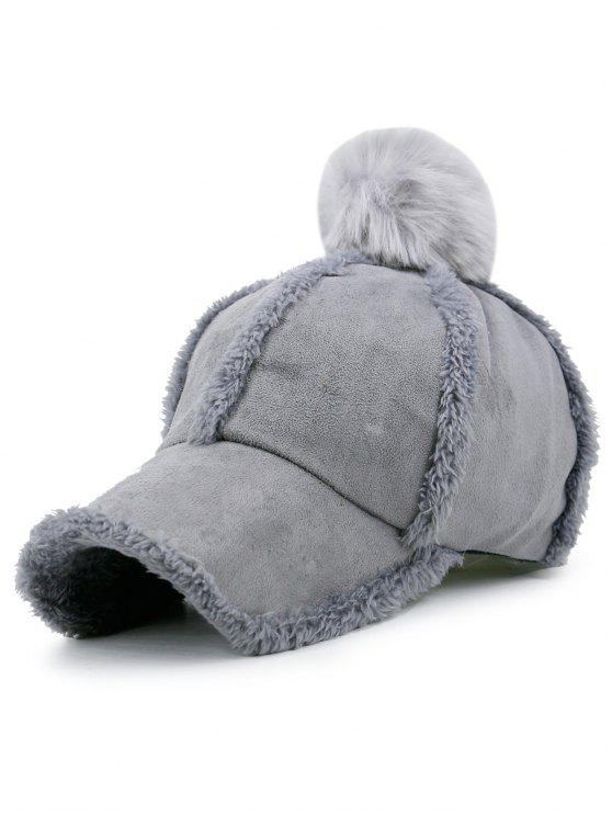 sale Faux Lambswool Panel Pom Baseball Hat - GRAY