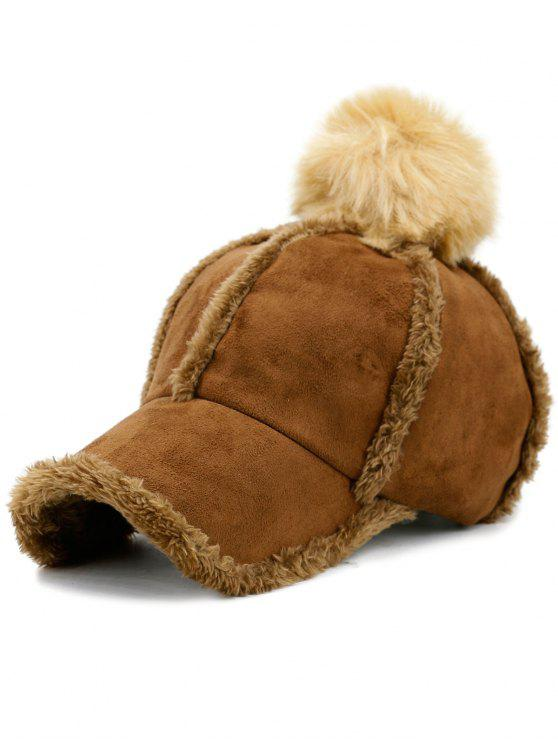 affordable Faux Lambswool Panel Pom Baseball Hat - COFFEE