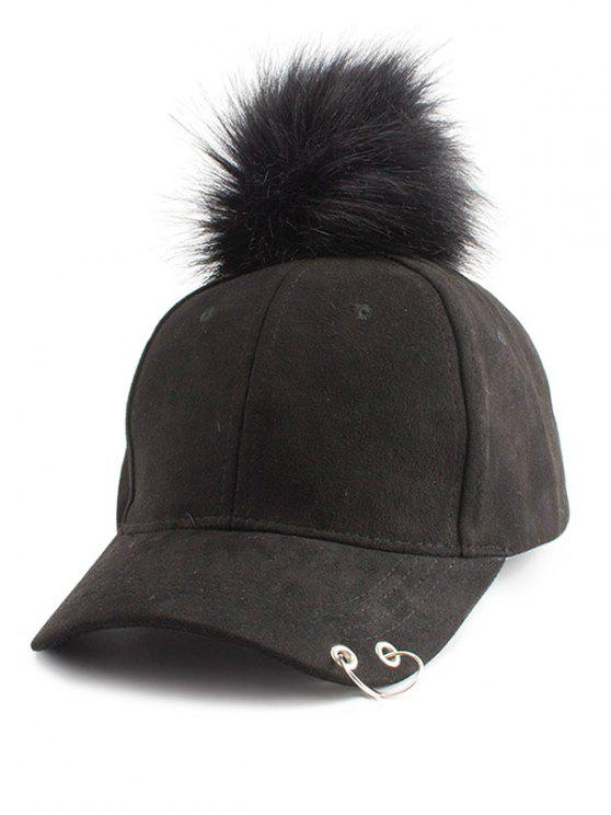 Anello di cerchio impreziosito Pom Baseball Hat - Nero