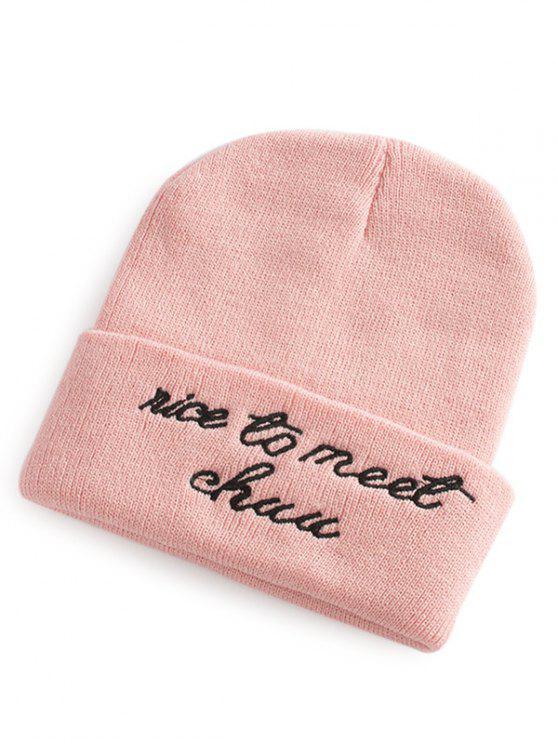 new Letter Pattern Flanging Knit Hat - PAPAYA