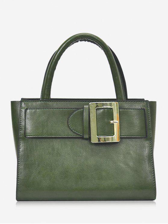 chic Buckle Strap Faux Leather Handbag - GREEN