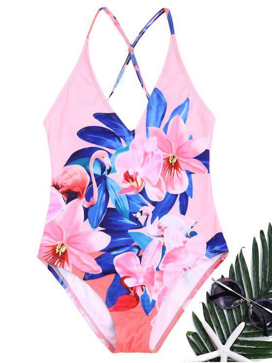 Blumen Einteiliger Badeanzug - Rosa S