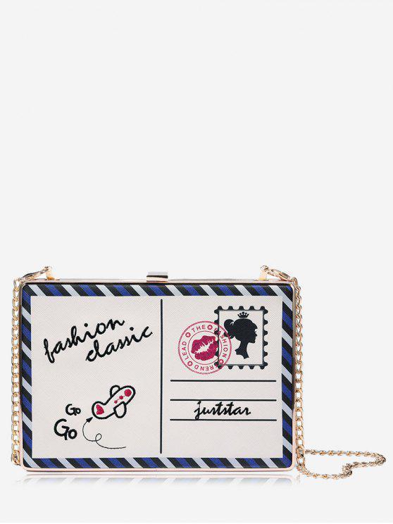 Box Umhängetasche mit Ketten und Postkarten - Weiß