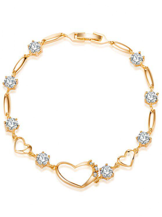 outfit Rhinestone Hollow Heart Bracelet - WHITE