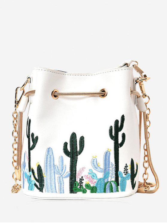 outfits Embroidery Drawstring Chain Crossbody Bag - WHITE